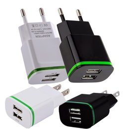 Wholesale Green Wall Charger - Green Led light Dual usb ports 2.1A+1A EU US Ac home wall charger travel adapter for iphone 6 7 8 Samsung htc android phone pc