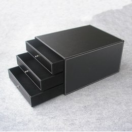 Wholesale Wood File Cabinets - Wholesale- 3-layer 3-drawer wood leather desk set filing cabinet storage drawer box office organizer document container holder black 213A