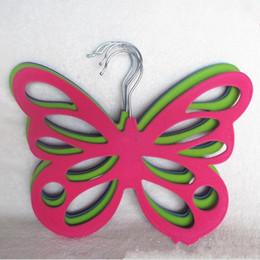 Wholesale Butterfly Hangers - New Butterfly Hanger Creative Flocking Plastic Multi Function Clothes Silk Scarf Storage Rack A Variety Of Colors 3 8db J R
