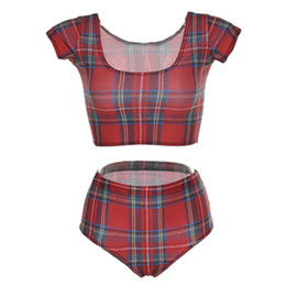 Wholesale Top Fashion Swimwear - Fashion Beach Wear Bottom Tight Swimwear Woman Summer Swimming Sets Digital Printing Tank tops Swim Suit Quick-Drying Red Plaid Lady LNHst