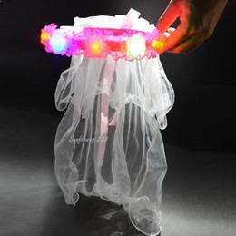 Capelli velo ragazze online-La ragazza della principessa delle donne LED che accende la fascia di capelli di Hairband della luce di fascia Boho ha aumentato la ghirlanda floreale dei capelli del fiore di festival di cerimonia nuziale