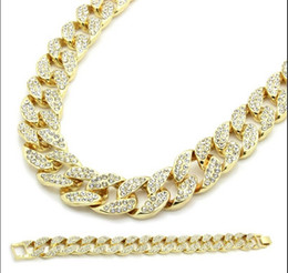 """Wholesale Engagement Bracelets - Miami Cuban Link Chain Gold Plated Fully Iced Out Hip Hop Bling 2016 Hot Sale 15mm 30"""" Iced Out Hip Hop Chain & 8.5"""" Bracelet"""