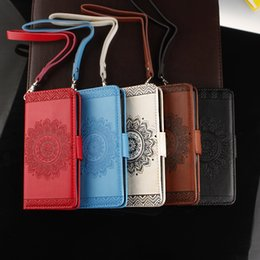 Wholesale Leather Flower Wallet - Datura Flower Luxury Cover Wallet Leather Flip Cover For iPhone X 8 7 6 6S Plus 5 5S SE Galaxy S9 Plus S8 S7 Sunflower Strap
