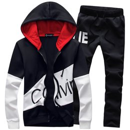 Wholesale Black Men Wearing Suits - Wholesale-Hot sale free shipping fashionable stand collar men sport suit sports wear hoodies suit set 3 colors AB253