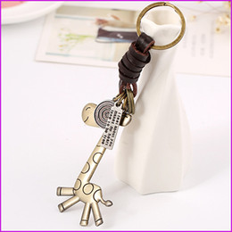 Wholesale Antique Small Key - Cute Giraffe Creative Key Chain, Men and Women Small Gift Alloy Lovely Giraffe Retro Woven Leather Key Chain Ring Holder