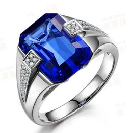 Wholesale Blue Sapphire Ring 925 Silver - Victoria Wieck Brand Design Fashion Jewelry 8ct Blue Sapphire 925 Sterling silver Simulated Diamond Wedding Band Ring Gift Size8-13