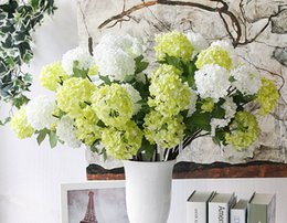"Wholesale Artificial Hydrangea Flowers Wholesale - Lovely Snowball White Hydrangea bouquet 2 heads 54cm(21.3"")Length Artificial Silk Hydrangea Bouquet for Home,Wedding,Store Decor"