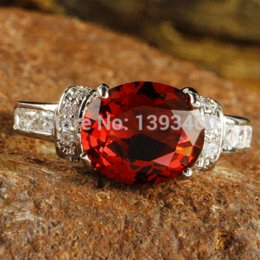 Wholesale Ruby Spinel - Gorgeous Posh Honourable Oval Cut Ruby Spinel Elegant Silver Ring Size 10 New Fashion Jewelry 2016 Gift For Women Free Ship