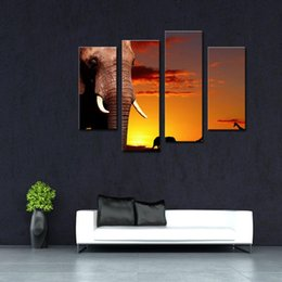 Wholesale Oil Paintings African Elephants - 4 Picture Combination Wall Art African Elephant In Savanna At Sunset Tree Giraffe Painting Pictures Print On Canvas Animal