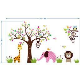 Autocollant de mur d'arbre de singe de chouette en Ligne-Arbre Coloré Feuilles Singe Hiboux Stickers Muraux Enfants Garçons Filles Infant Murale Affiche Girafe Lion Éléphant Maternelle Papier Peint Autocollants