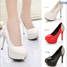 Wholesale Sexy Platform Wedding Sandals - Sexy Sequinned wedding shoes women's high-heeled bridal shoes platform sandals Round Toe shoes bridesmaid shoes party shoes