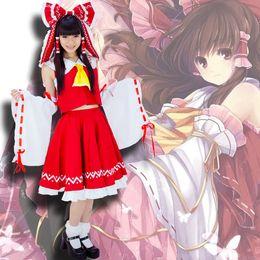 Wholesale Anime Touhou - Wholesale-Japanese Anime Touhou Project Cosplay Costume Hakurei Reimu Reimu Hakurei Lolita Dress Halloween Costume Free Shipping