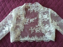 Wholesale Tulle Bridal Shrug Long Sleeve - Lace Sheer Long Sleeves 2018 Jackets Bridal Wraps Shawl Bolero Shrugs Stole Cloak Caps Half Sleeve Tulle Bridesmaid Wedding Dress Wrap