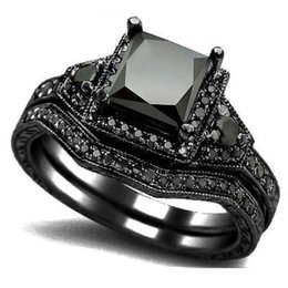 Wholesale Banded Onyx - Size 5-11 Black Princess Cut Crystal Wedding Engagement Ring Band Set Bridal Halo Statement Propose Cocktail Promise anniversary