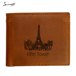 Wholesale Tower Cards Credit - Genuine Leather Wallet Men Gifts Laser Engraved Eiffel Tower Patttern Custom Name Gift Purse with Coin Pocket inside