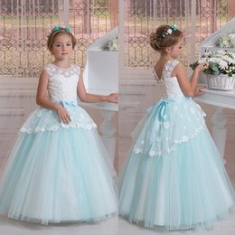 Wholesale Peplum Flower Girl Dresses - 2017 Blue Princess Flower Girls Dresses For Weddings Peplum Sheer Neck Girls Pageant Dress Lace Up Back Party Communion Dress With Sash