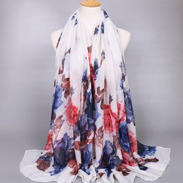 Wholesale Men Beautiful Dresses - Wholesale-2016 europe wholesale beautiful silk women scarf 6 colors available autumn dress factory oem big flower design