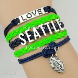 Wholesale Christmas Wrapping Drop Shipping - Custom-Infinity Love Seattle Football Sports Team Bracelet Wax Cords Wrap Braided Leather Adjustable Bangles Christmas Gift-Drop Shipping