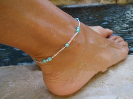 Wholesale Green Alexandrite - New Unique Women Nice Turquoise Beads Silver Chain Bohemia Anklet Ankle Bracelet Foot Jewelry Free Shipping