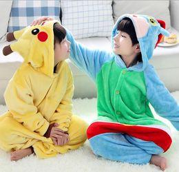 Wholesale pikachu onesies - Kids Pikachu Pajamas Animal Kigurumi Pyjamas Cosplay Christmas Costume Cartoon Poke Jumpsuits Baby Flannel Sleepwear Winter Onesies