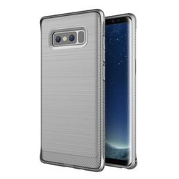 Wholesale Carbon Pouch - Hybrid Slim Armor Luxury Case for Samsung Galaxy Note 8 Carbon Fiber Texture Brushed Silicone Soft Cover for Samsung Note 8 Funda