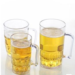 Wholesale Wholesale Acrylic Mugs - Wholesale- Unbreakable 3 Sizes Acrylic Beer Cup KTV Large Beer Cup Plastic Drinks Cups Breakfast Milk Coffee Water Mug Barware Drinkware