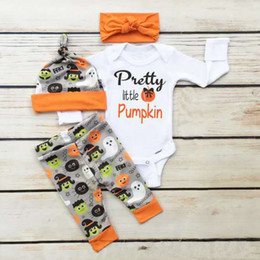 Wholesale Pumpkin Headbands - Pretty Little Pumpkin Halloween costumes Letters Outfits for kid Boys Girls Long Sleeve Romper With Pant Hat Headband 4pcs set 2017 Autumn