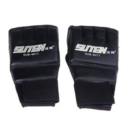 Wholesale White Leather Mittens - New Arrival luva Golden White Red PU Leather Half Mitts Mitten MMA Muay Thai Training Punching Sparring ick Boxing Gloves boxeo
