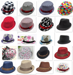 Wholesale Jazz Cap Kids - 21 designs fashion Unisex casual fedora trilby hat Baby kids children's Caps accessories hat dandys Jazz cap D783