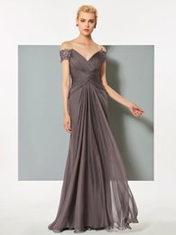 Wholesale Sexy Party Dresses New Arrival - New Arrival 2018 off shoulder applique v backless sexy prom dresses long ruched chiffon maid of honor party gowns