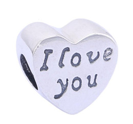 Wholesale Pandora I Love Charm - I Love You Sterling Silver Heart Charm European Charms Beads For Pandora Fit DIY Snake Chain Bracelets Fashion DIY Jewelry