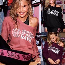 Wholesale Harajuku Sweatshirts - Wholesale- Autumn Women Off Shoulder Hoodie Pink Letter Print Sweatshirt Knitted Long Sleeve Pullovers Polerones Mujer Harajuku Tops DQ57