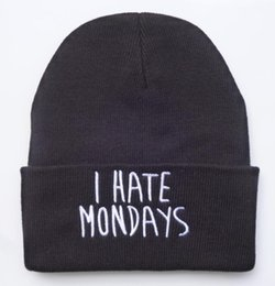 Wholesale Orange Black Beanie - COOL black Men's I HATE MONDAYS Letters Beanie Stretch knitted hat hip hop casual cotton cap winter beanies skull hats HFMY