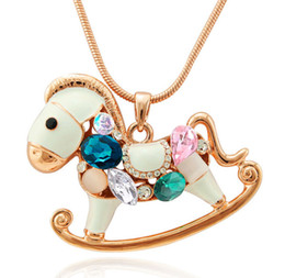 Wholesale Carousel Charms Jewelry - Carousel Pendant Necklaces For Women Top Quality Long Sweater Chains Full Diamond Horse Charm Luxury Jewelry Wholesale