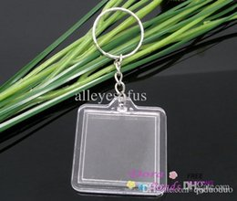 Acrylic photo frame key ring en Ligne-Gros-10 clés ChainKey Rings W / Transparent Acrylique Cadres ajustement 30x30mm photo