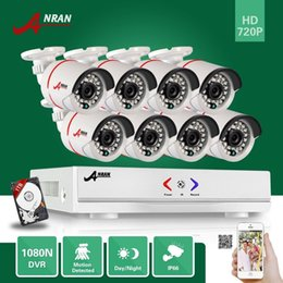 Wholesale cameras bullet - ANRAN Plug and Play 8CH hybrid HD AHD DVR 1800TVL 720P Waterproof Outdoor 24 IR Day Night Home CCTV Security Camera System With 1TB HHD