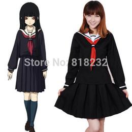 Wholesale School Sailor Outfits - Wholesale-Jigoku Shoujo Enma Ai Sailor Suit School Uniform Dress Outfit Cosplay Costumes S-XL