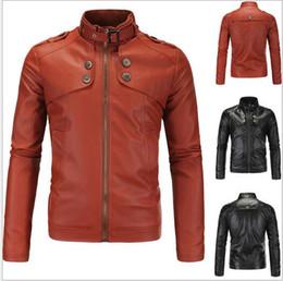 Wholesale Mens Leather Top Coat - 4XL Plus Size Premium Mens Motorcycle Jacket Short Coat Slim Top Designed Sexy PU Leather Coat Fit Washed Jackets J160811