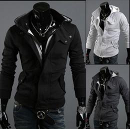 Wholesale Stylish Slim Fit Jackets Men - 2016 Fashion Men Jackets Christmas Outerwear Stylish Slim Fit Hoodie Jacket Cotton Blend Male Top 5 Sizes Black Grey Light gray