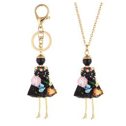 Wholesale Necklace Pendants For Kids - Cute Flower Dress Doll Necklace Pendants Jewelry New Fashion Kids Pendant KeyChains Bag Charms Accessories For Women Christmas Gifts