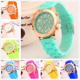Wholesale Geneva Plastic Watches - Luxury Brand Geneva Watch Silicone Candy Jelly Quartz Watches Fashion Men Women Numerals Watch Casual Dress Wristwatch