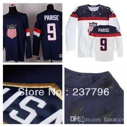Wholesale American Made Blue - wholesale Hot Sale Custom Team USA Hockey Jersey #9 Zach Parise Jersey American 2016 Olympic Sochi Personalized Make Customized Blue White