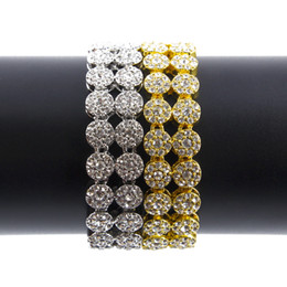 Wholesale African Movies - Men's 2 Row Hip Hop Bracelet 18k Yellow Gold Silver Finish Bling Bling 8inch Bracelet Iced Out