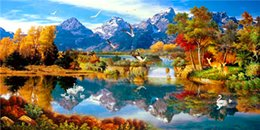 Wholesale Mountain Paintings - 2016 Arrival diy Diamond Painting Cross Stitch Kit Set full round Embroidery Rhinestone Home Decor scenery mountain lake free shiping