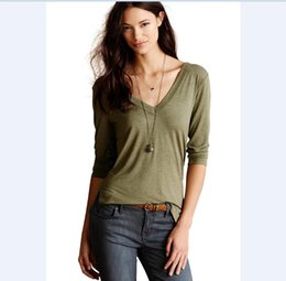 Wholesale Cheap Womens Plus Size Clothes - New products Cheap Clothes Autumn 2015 Womens New Brand Casual Cotton T Shirts Sexy V Neck Elegant Tops Tee Loose T-shirts Plus Size New2016