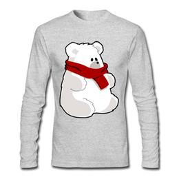 Wholesale Unique Design Clothes - Pure Cotton Fashion Style Shirt White Polar-bear Spring Fall Clothing Tees O Neck Unique Design Shirt