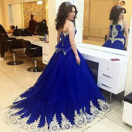 Wholesale Princess Style Prom Dresses Pink - Royal Blue Ball Gown Prom Dresses 2017 New Style Princess Sweet 16 Girls Birthday Party Dress with Gold Lace Appliques Formal Gowns