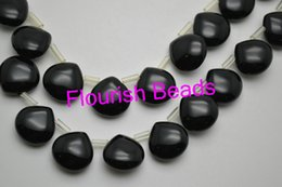 Wholesale Drop Shape Loose - Flat Drop Shape Black Onyx Agate Stone Loose Beads 14*14MM For Various Bracelet Necklace Jewelry DIY Materials 5Strand Lot