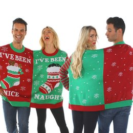 Wholesale Funny Santa Costumes - 2017 New Christmas Cosplay Costumes Male and female conjoined Sweatershirt Beer and Socks Print Funny Couples Clothes