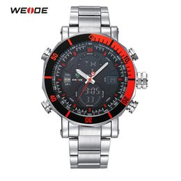 Wholesale Weide Time Zone Watches - Wholesale-WEIDE Sport Watch Dual Time Zone Full Stainless Steel Men Fashion Wristwatch Waterproof Quartz Digital Casual Watch Relogio